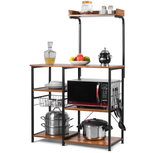 Costway 4-Tier Vintage Kitchen Baker's Rack Utility Microwave Stand w/ Bask