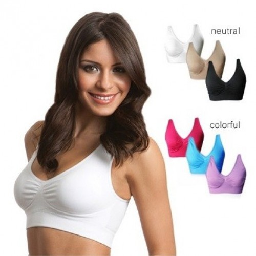 Set of 3 Seamless miracle bra with removable pads