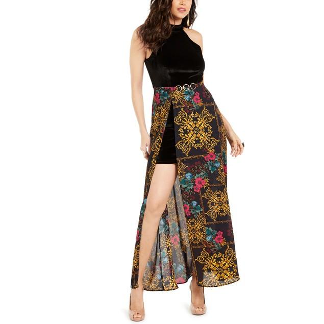 Thalia Sodi Women's Halter Printed-Overlay Maxi Dress Black Size Large