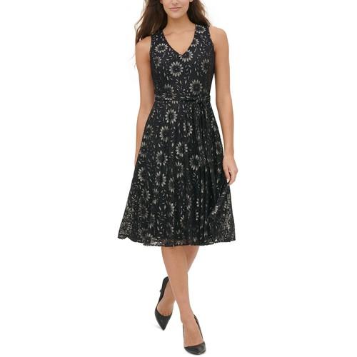 Tommy Hilfiger Women's Floral-Lace Fit & Flare Dress Black Size 14