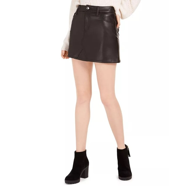 Rewash Juniors' Faux Leather Mini Skirt Black Size 5