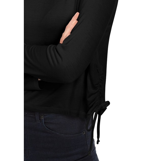 Rebellious One Juniors' Side-Ruched Top Black Size Medium