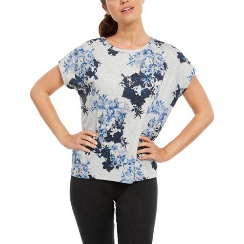 Ideology Women's Printed Yoga T-Shirt Grey Size Small