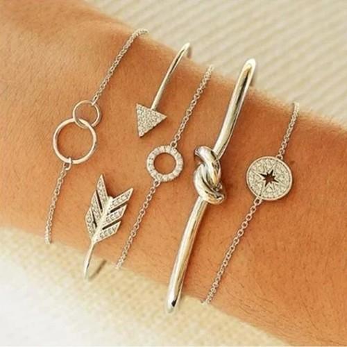 Silver Sparkle 5PC Stackable Bracelets