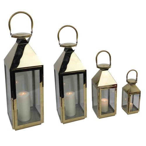 Spura Home Decorative Silver Indoor Outdoor Chrome Metal Lantern set of 4