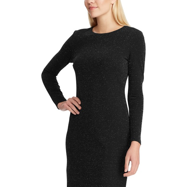 Ralph Lauren Womens Metallic-Knit Dress Black Size 8