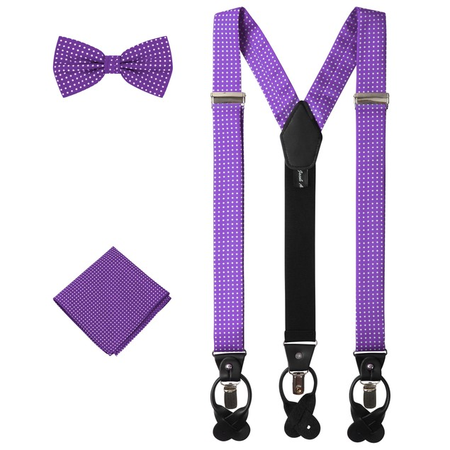 Jacob Alexander Matching Polka Dot Suspenders Handkerchief and Bow Tie