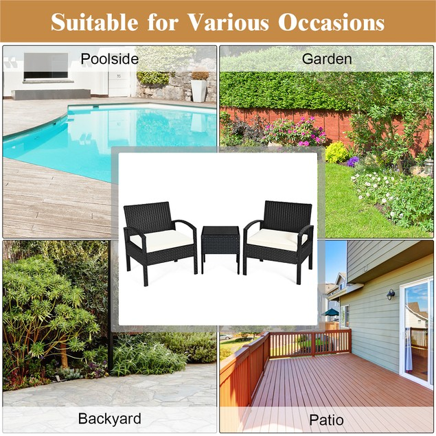 Costway 3PCS Patio Rattan Furniture Set Table & Chairs Set With Cushions
