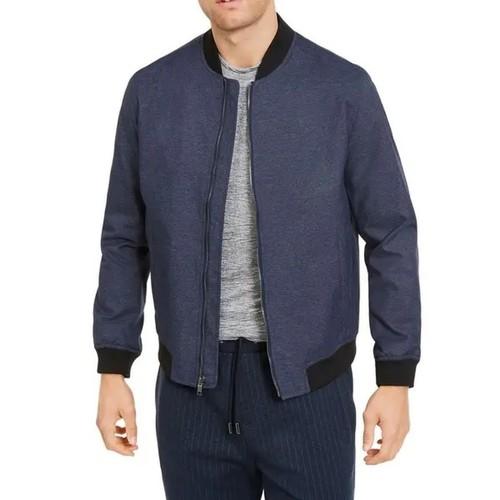 Alfani Men's Full-Zip Bomber Jacket Dark Blue Size Small