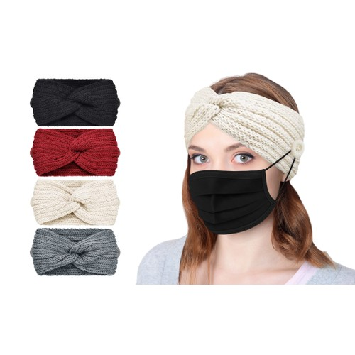 4-Pack: Knitted Ear Warming Headband with Buttons to Hold Mask