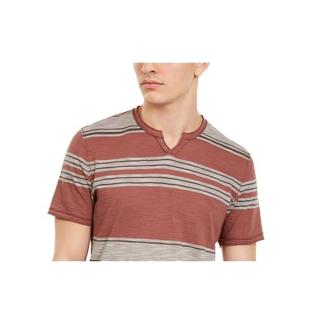 INC International Concepts Men's Stripe Split-Neck T-Shirt Red Size Large