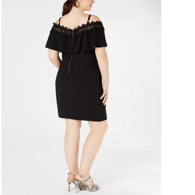 BCX Women's Plus Trendy Off-The-Shoulder Crochet Dress Black Size X-Large