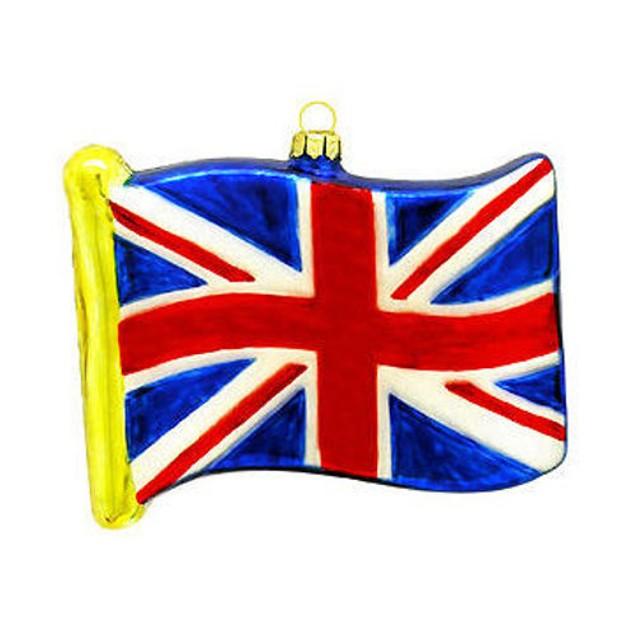 Great Britian Flag Glass Ornament British England Christmas Tree Hanging