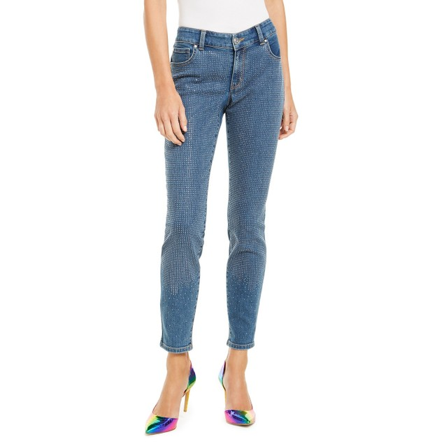 INC International Concepts Women's Bling-Front Skinny Jeans Blue Size 4