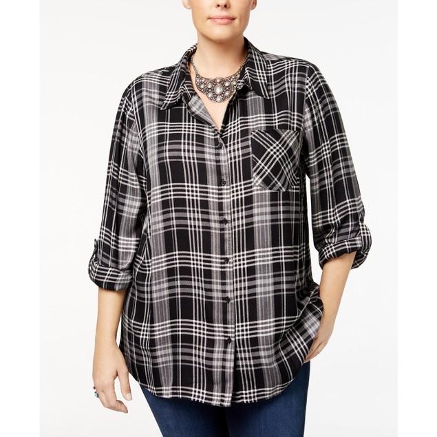 Style & Co Women's Plus Size Plaid Shirt Black Size 2X