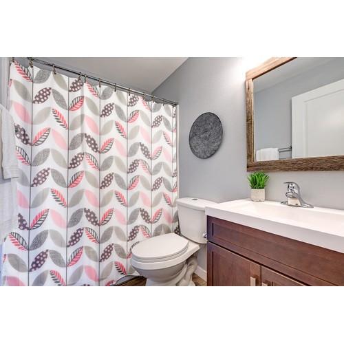 Shower Curtain and Rug Bathroom Set Non Slip Bath Mat & Curtain & Hook Sets