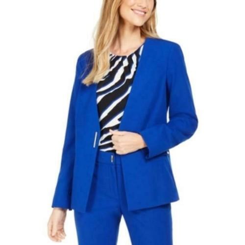 Calvin Klein Women's Collarless Single-Snap Blazer Blue Size 10