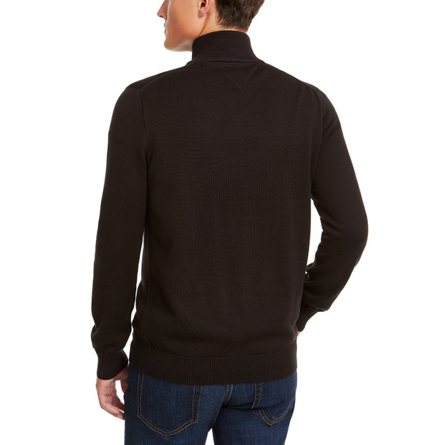 Tommy Hilfiger Men's Quarter-Zip Sweater Black Size Extra Small