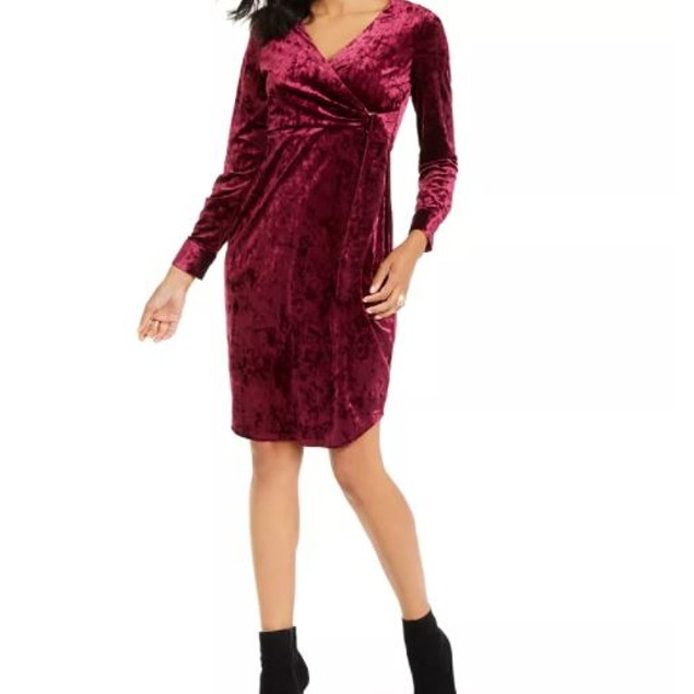 Thalia Sodi Women's Side Tie Velvet Surplice Dress Purple Size Medium