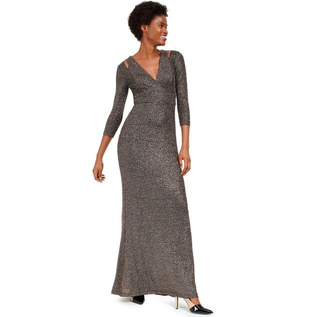 Calvin Klein Women's Cutout Glitter Gown Charcoal Size 4