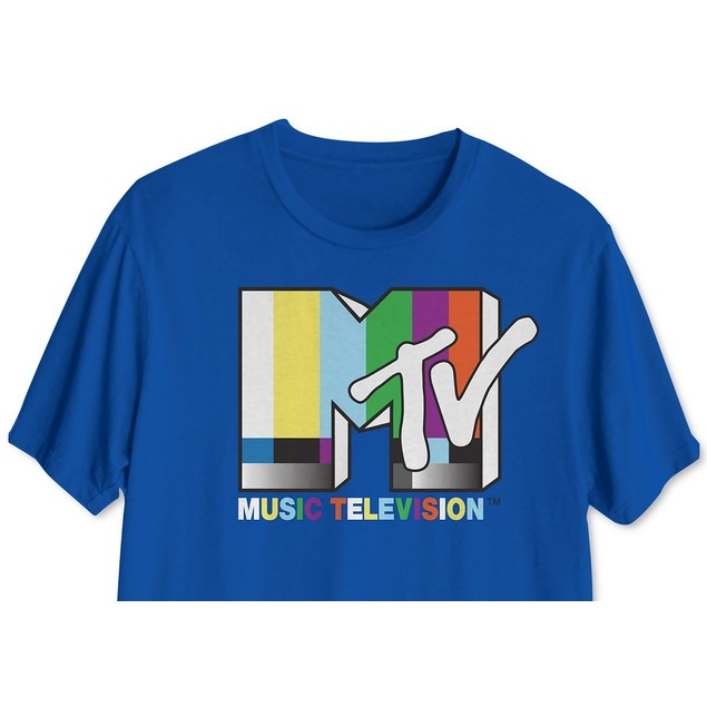 Mtv Retro Men's Graphic T-Shirt Navy Size Large
