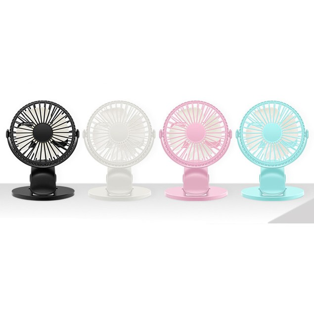 360 Degree Hair Dryer Clip Fan Mini Silent Portable Stroller Usb Charging