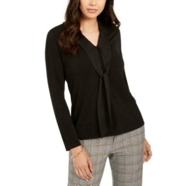 Charter Club Women's Woven Tie Top  Black Size Extra Small