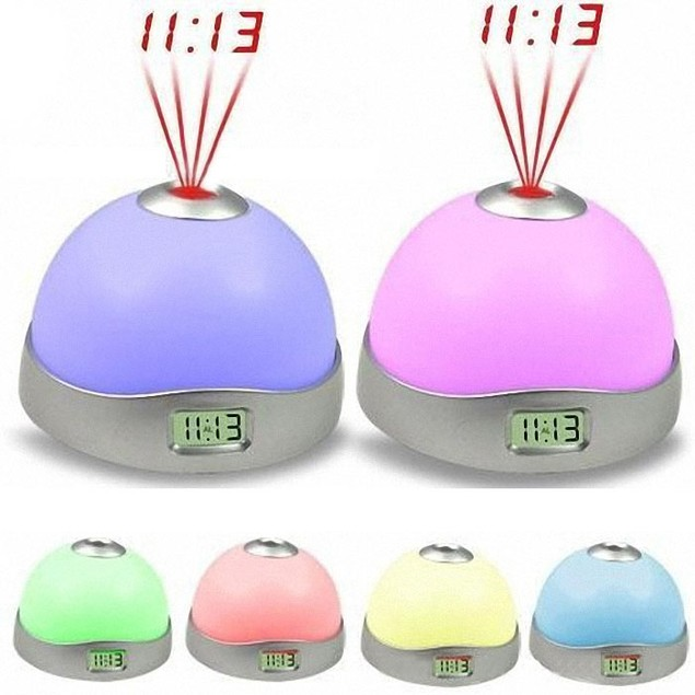 7 Colors LED Change Star Night Light Magic Projector Table Backlight Clock