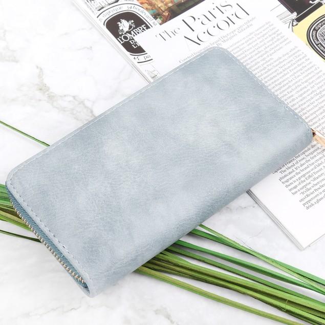 Single Zipper Smoked Leather Wallet