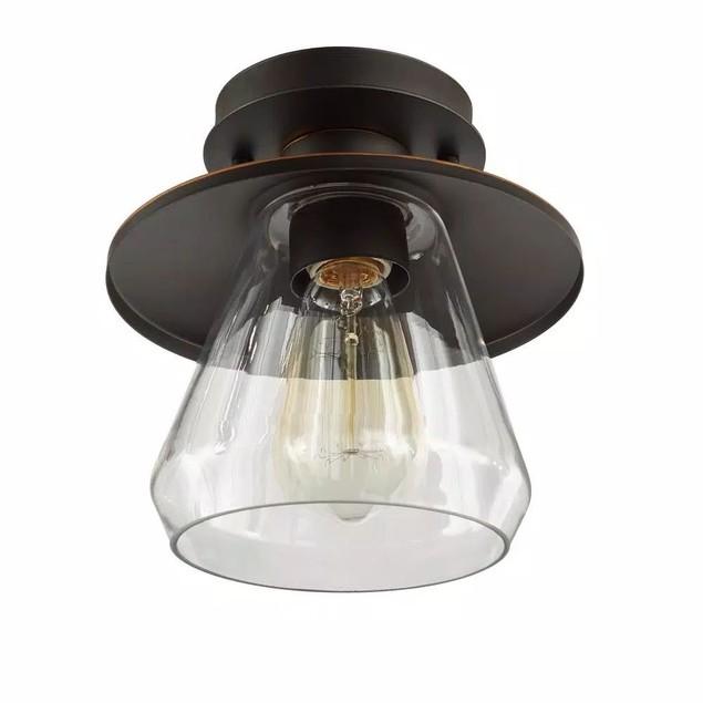 Hampton Bay Northmoore 1-Light Oil Rubbed Vintage Semi-Flush Mount Light