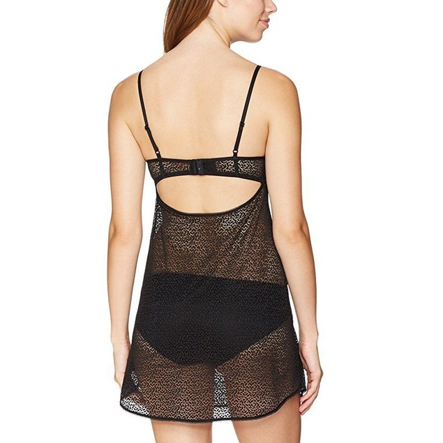 DKNY Women's Modern Lace Unlined Chemise, Black, SZ Medium