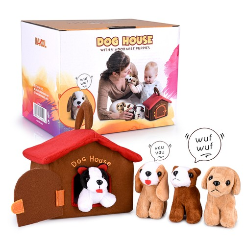Hakol Dog House Educational Toy With 4 Squishy & Barking Puppies Playset