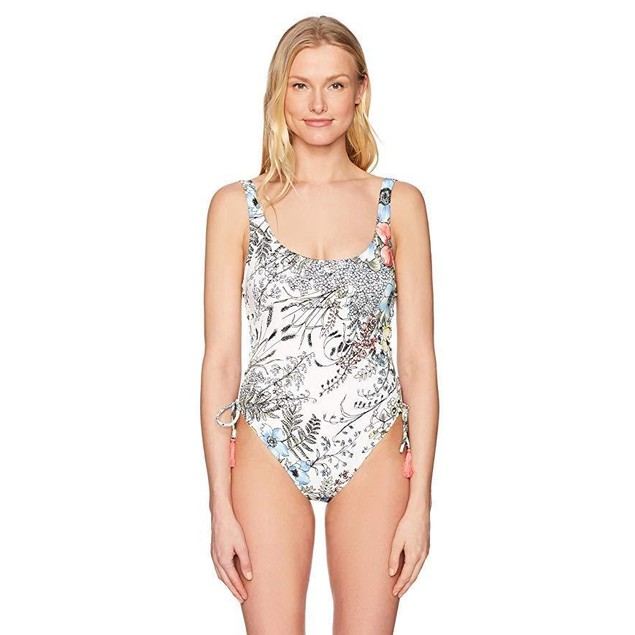 Vince Camuto Women's Side Lace U-Neck One Piece Swimsuit, Wildflower S