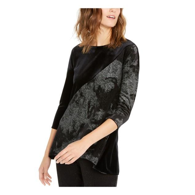 Alfani Women's Velvet Metallic Top Black Size Medium