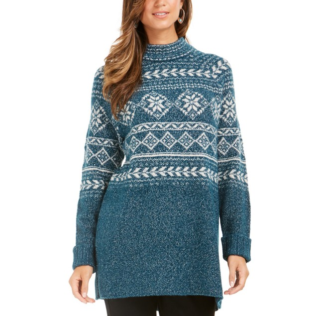 Style & Co Women's Fair Isle Tunic Sweater Green Size Extra Large