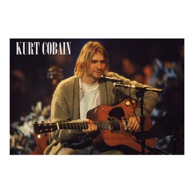 Kurt Cobain Unplugged Poster 36 x 24 Nirvana Rock Music Dave Grohl