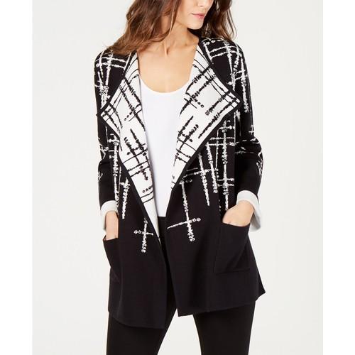 Alfani Women's Double-Knit Sweater Jacket Black Size Medium