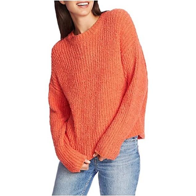 1.STATE Women's Mock Neck Terry Yarn Sweater Papaya Med Orange Size Large