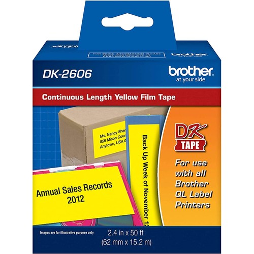 Brothers Brother Genuine DK-2606 Continuous Length Film Tape, 2.4 in x 50 ft (62 mm x 15.2 m) Black on White, Retail Packaging