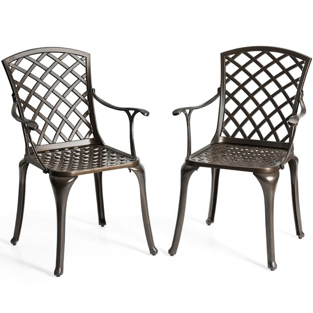 Costway Outdoor Cast Aluminum Arm Dining Chairs Set of 2 Patio Bistro Chair