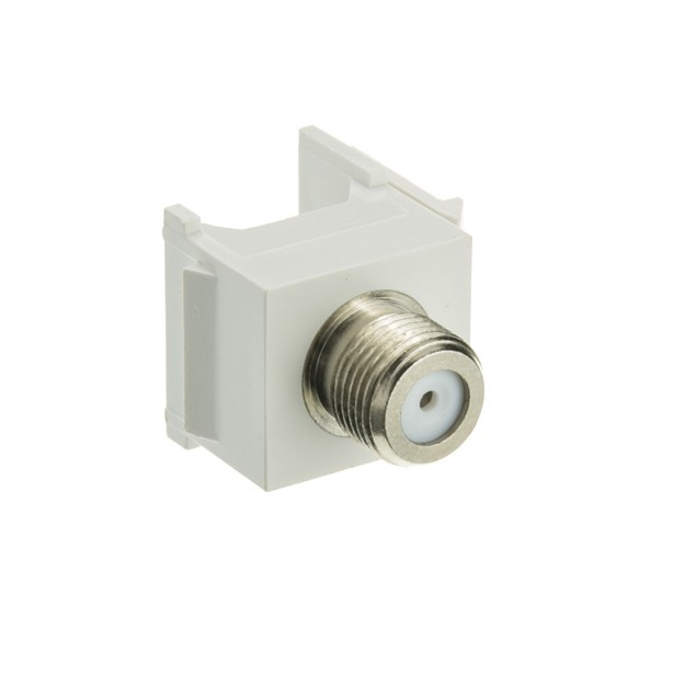 Keystone Insert, White, F-pin Coaxial Connector, F-pin Female Coupler