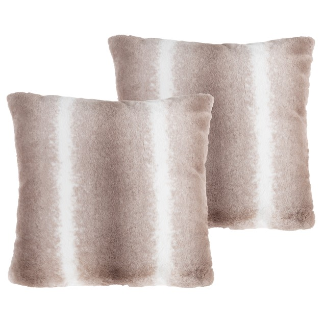 """17"""" Plush Pillows – Set of 2 Variegated Gray to White Square Accent Pillow Inserts and Covers – For Bedroom or Living Room by Lavish Home"""