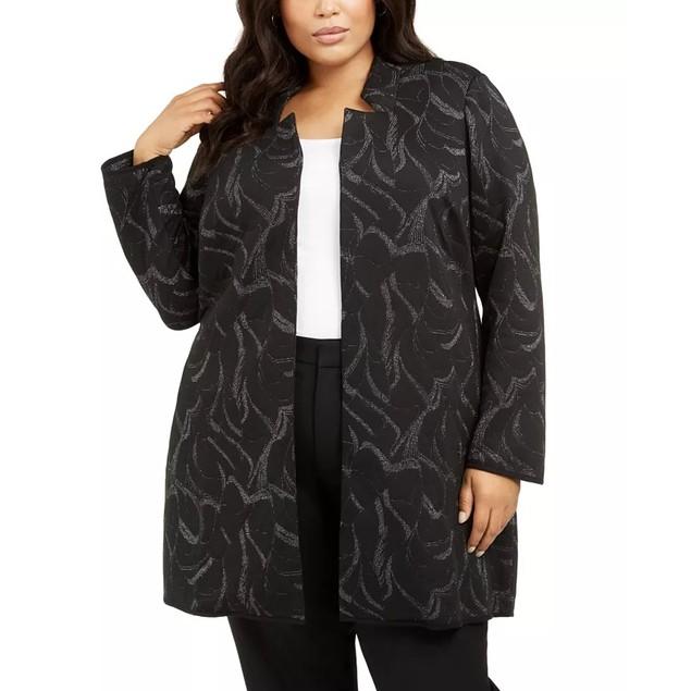 Alfani Women's Plus Metallic Jacquard Long Jacket Black Size 1X