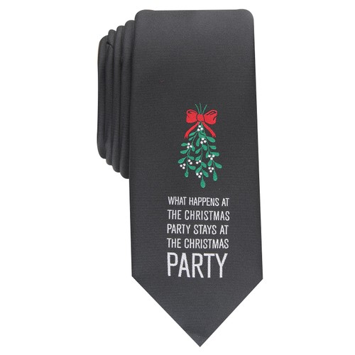 Bar III Men's Skinny Holiday Party Tie Black Size Regular