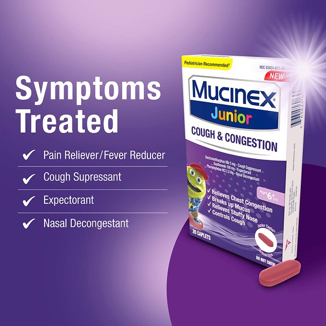 Mucinex Childrens Nasal Decongestant, Relieve Chest Congestion, Caplets, 20