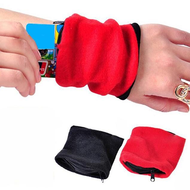 Sports Zipper Card Money Wrist Wrap Wallet