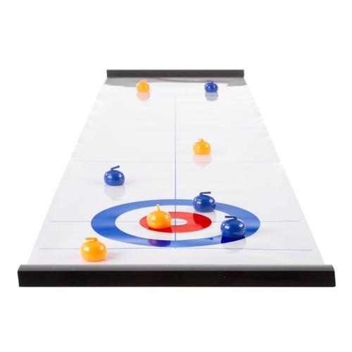 Tabletop Curling Game - Portable Indoor Desktop Roll Up Magnetic