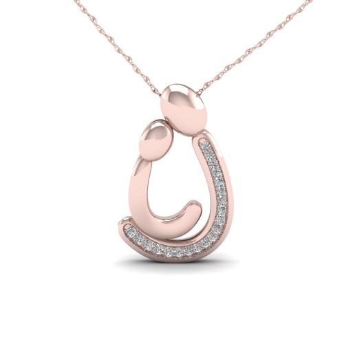 De Couer 10KT Rose Gold 1/20ct TDW Diamond Motherly Love Necklace I-J, I2