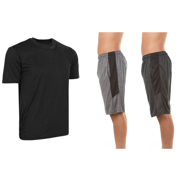 3-Pack Set Men's Active Athletic Dry Fit Shorts & With Tee or Tank Set