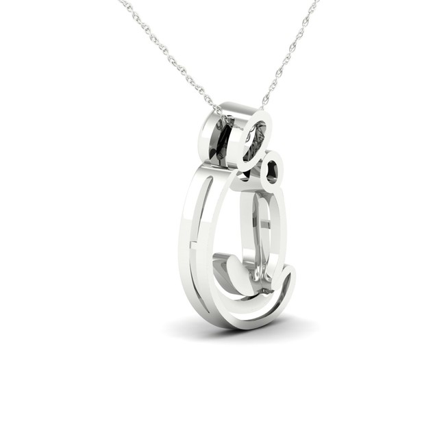 De Couer 10KT White Gold 1/20ct TDW Diamond Motherly Love Necklace I-J,I2